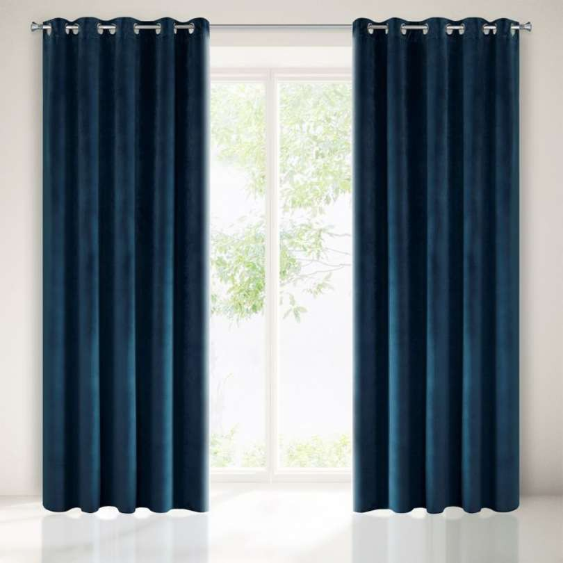 Velours ringgordijn donkerblauw 140x250cm x 2 stuks