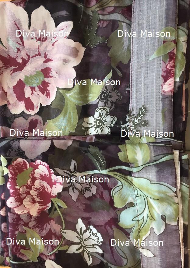 Vitrage plooigordijn met bloemen 250cm x 250cm - 2 stuks