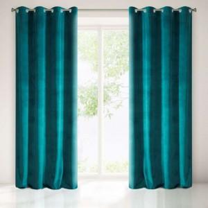Ringgordijn Veloursachtig donker turquoise groen 140x250cm x 2 stuks