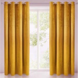 Velours ringgordijn mosterd geel 140x250cm x 2 stuks